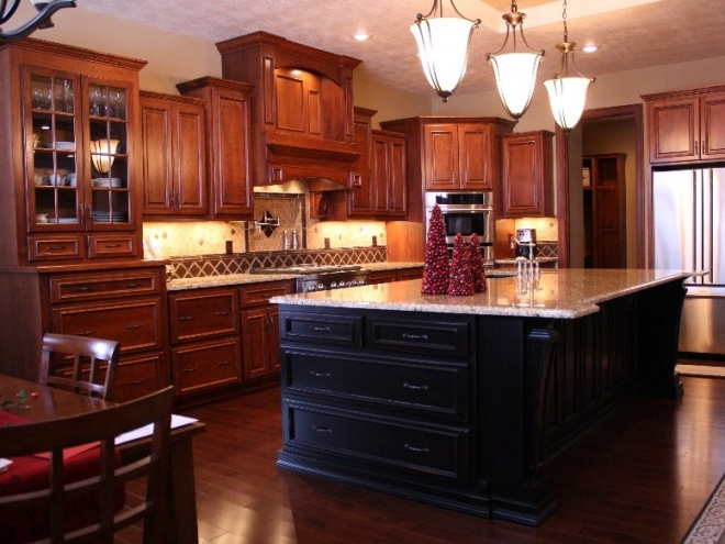 Custom Brown and Black Kitchen