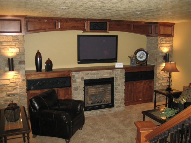 Custom Stone Entertainment and Fireplace Center