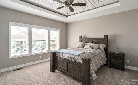 Master Suite with Shiplap on Ceiling