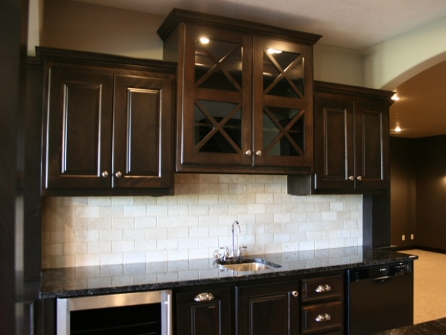 Lux Dark Wood White Stone Wet Bar