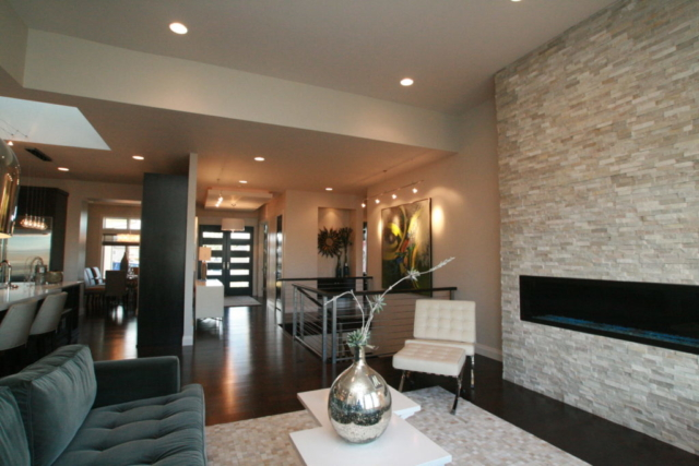 Modern and Sleek Fireplace with Front Entrance View