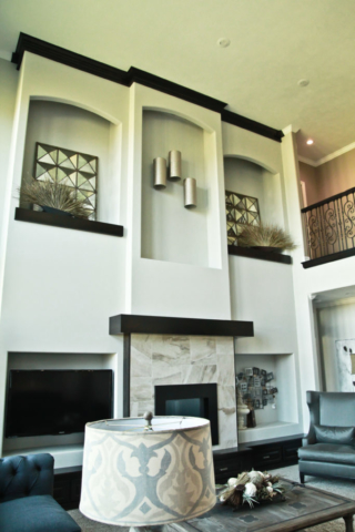 Modern Tall Custom Build Fireplace