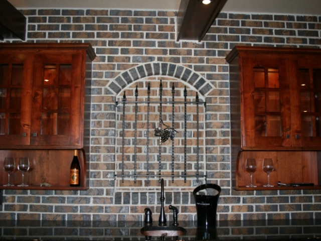 Custom Brick Wet Bar Sink Close Up