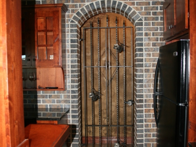 Custom Brick Wet Bar Door Close Up