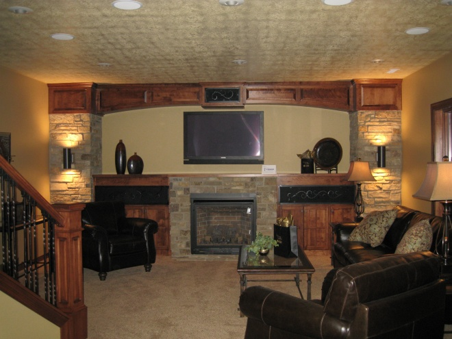 Stone and Wood Custom Entertainment Center Build